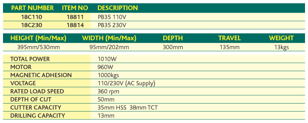 Powerbor PB35 Specifications