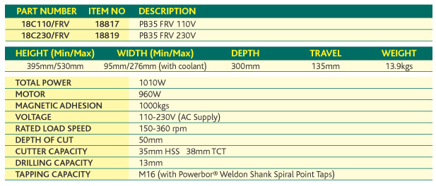 Powerbor PB35FRV Specifications